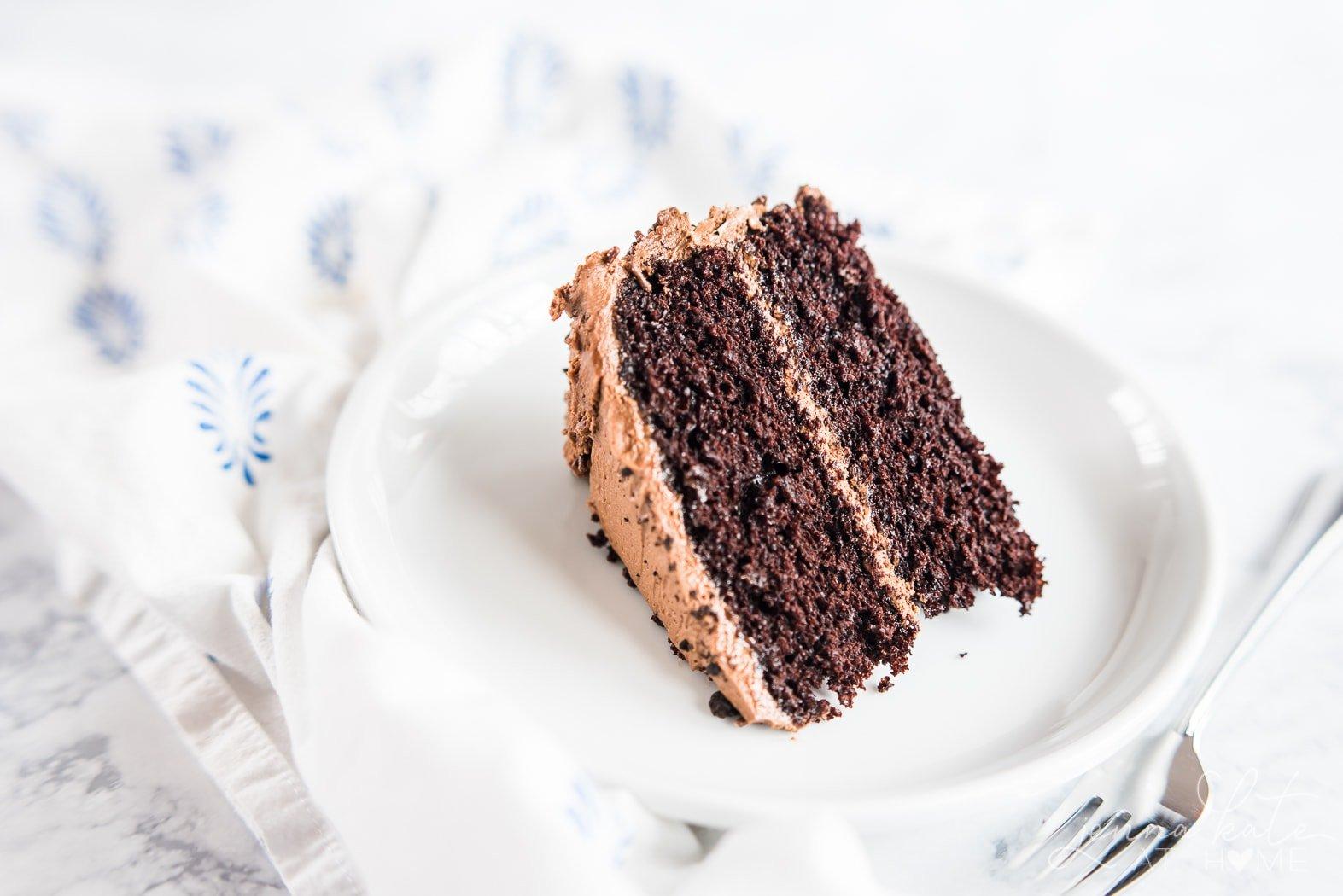 Easy chocolate birthday cake recipe, slice of moist cake on a plate