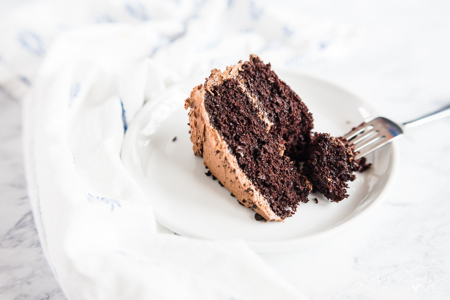 Best ever chocolate buttercream frosting on a piece of birthday cake