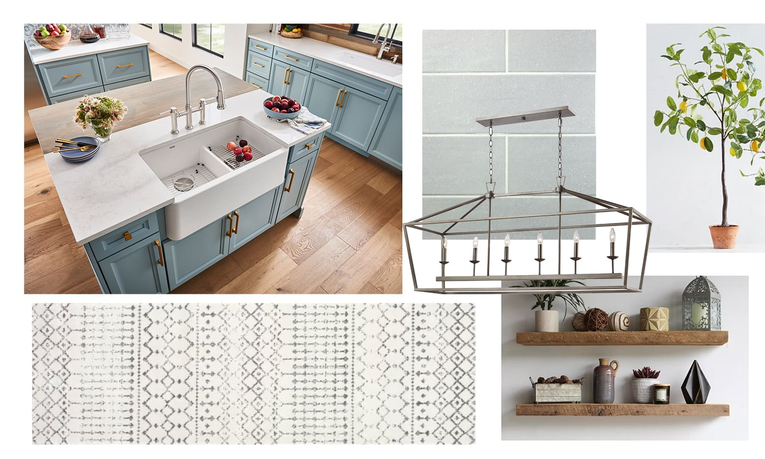 blue kitchen cabinets with white farmhouse sink