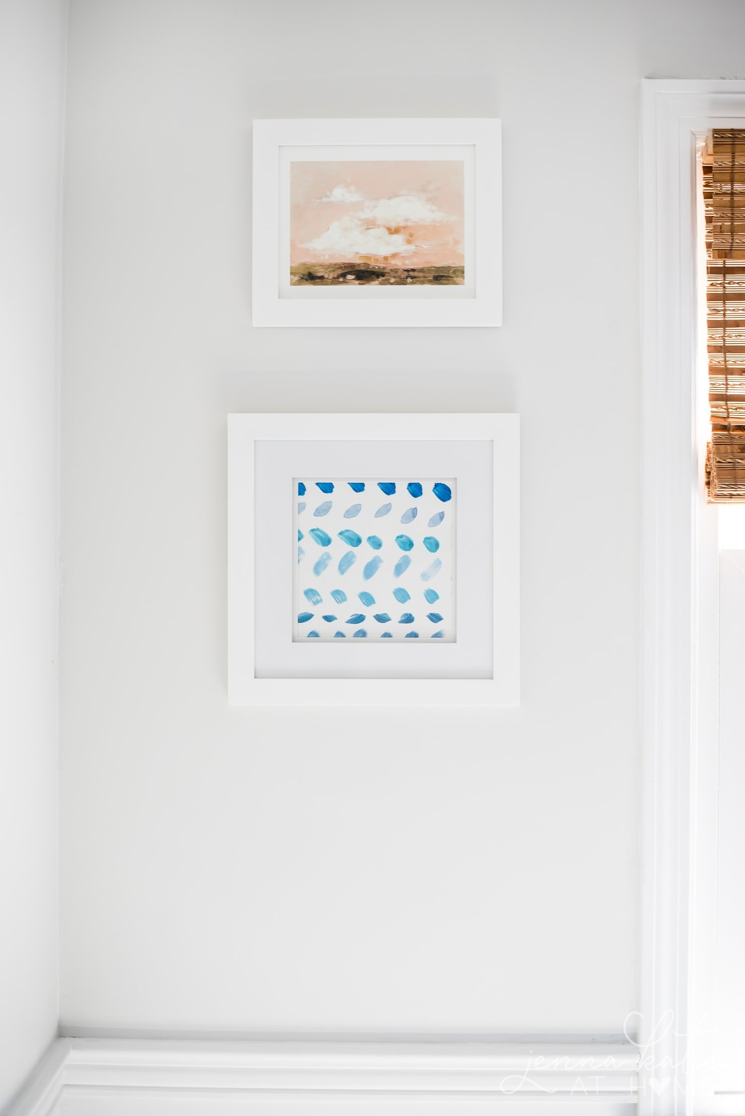 Blue ombre effect brush stroke DIY art