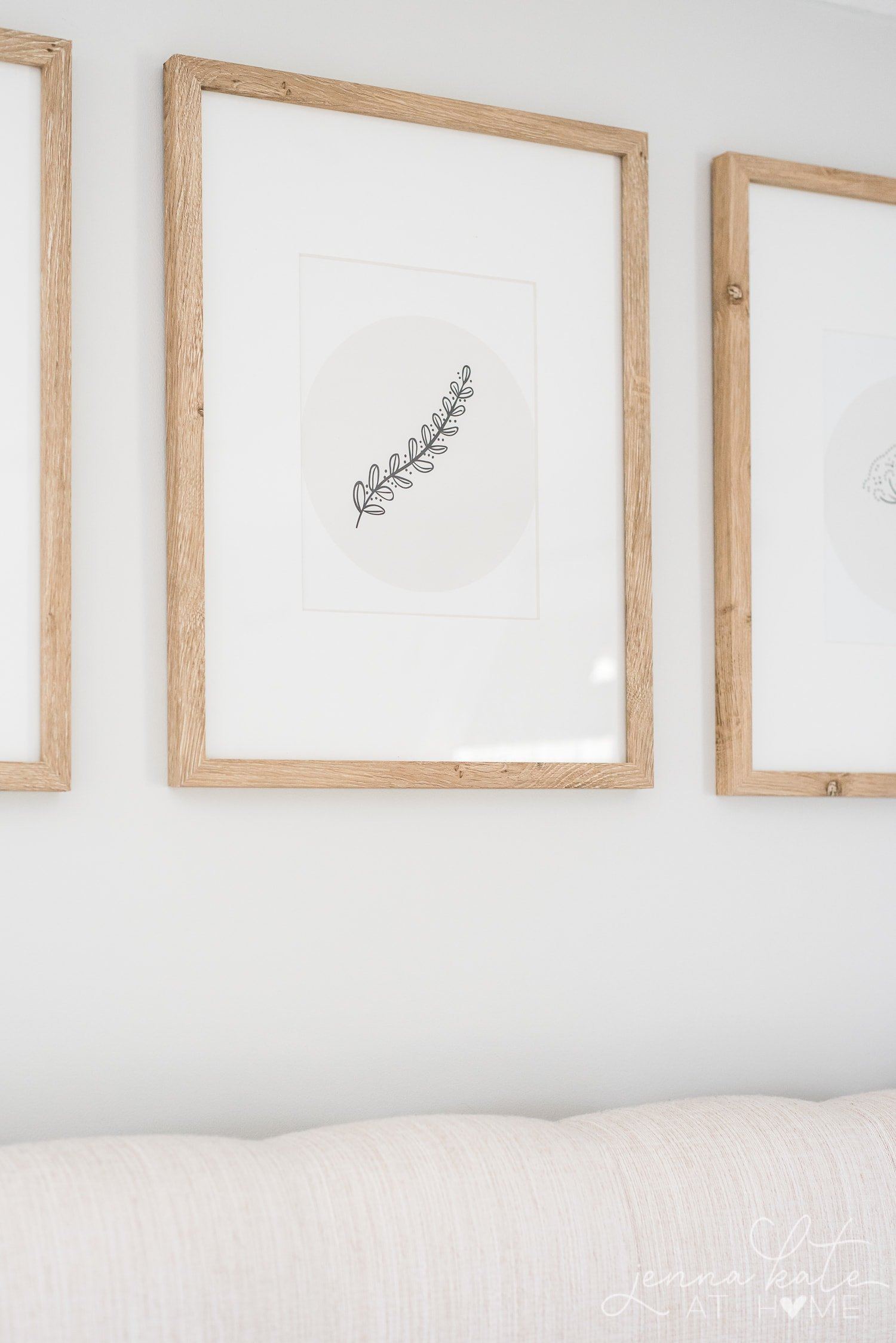 Close up of neutral wall art for bedroom