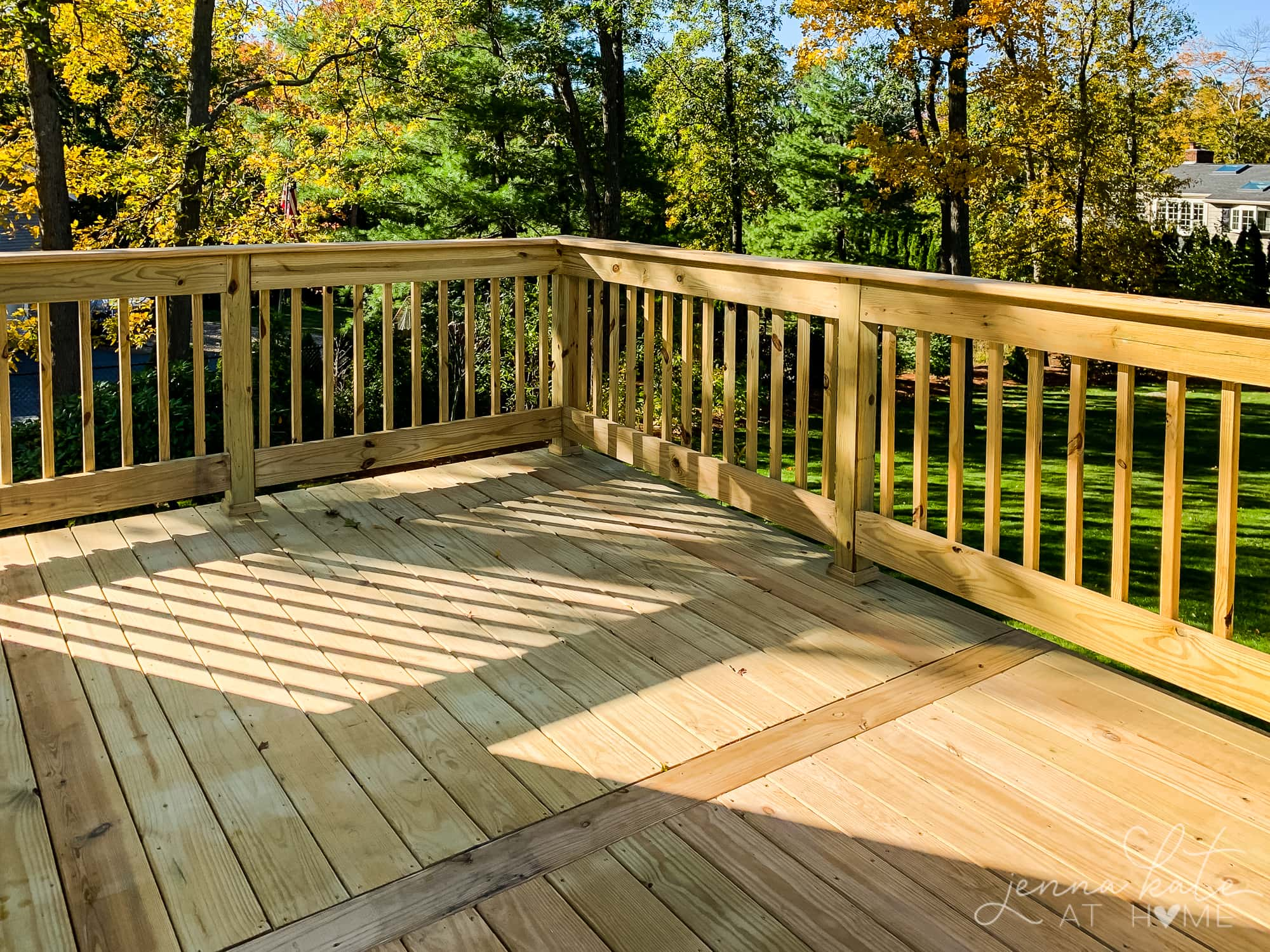 New pressure treated wood deck