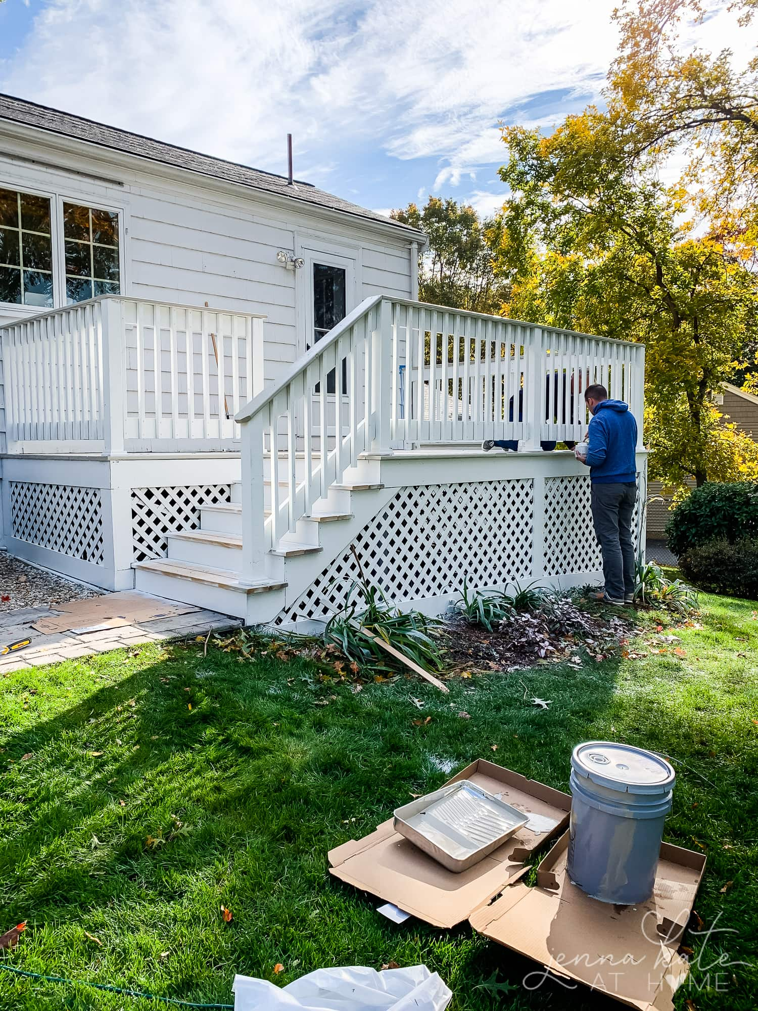 Painting the lattice on the side of the deck white