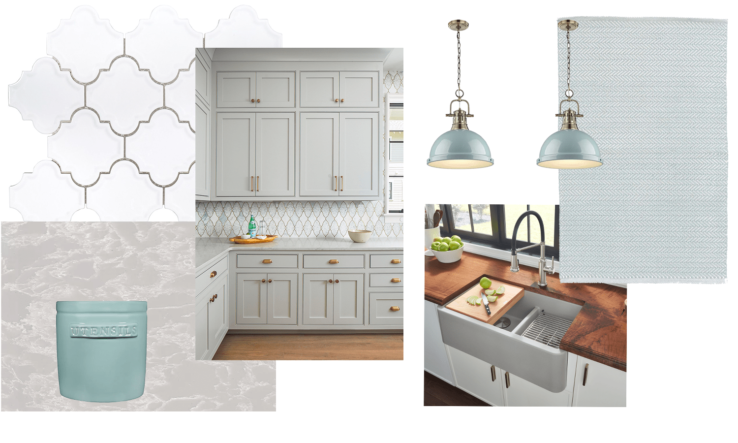 gray kitchen cabinets with gray granite sink and blue accents
