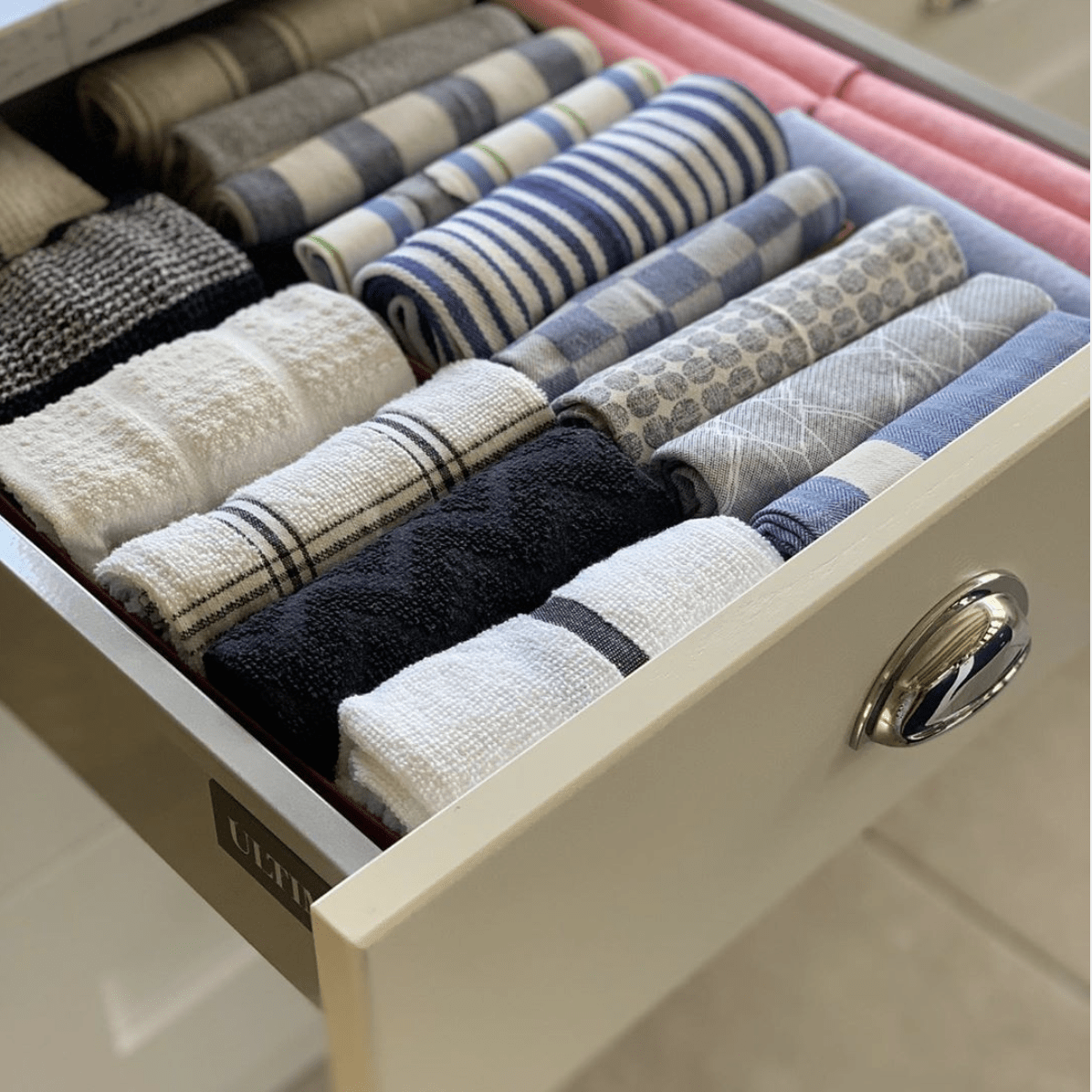 kitchen towels organized with the Konmari folding method
