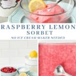Easy homemade raspberry and lemon sorbet that doesn't require an ice cream maker and only has 5 simple ingredients!