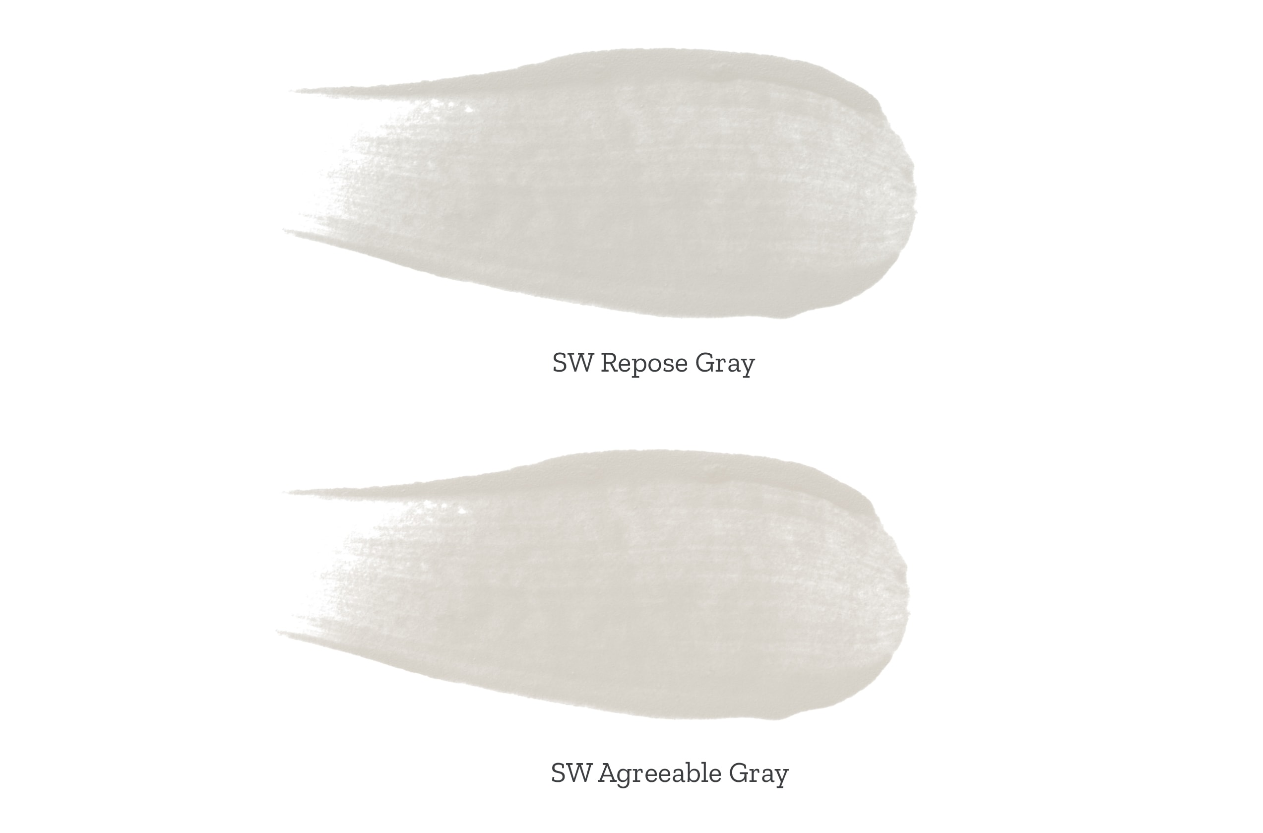 repose gray vs agreeable gray, side by side