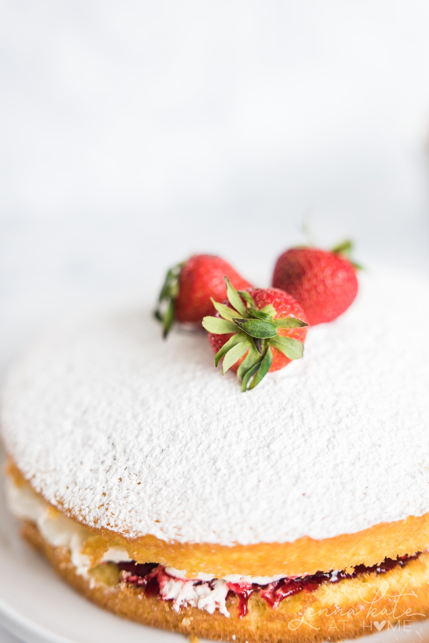 Close up of strawberries on top of the cake