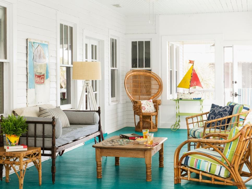 Colorful porch with turquoise painted floors