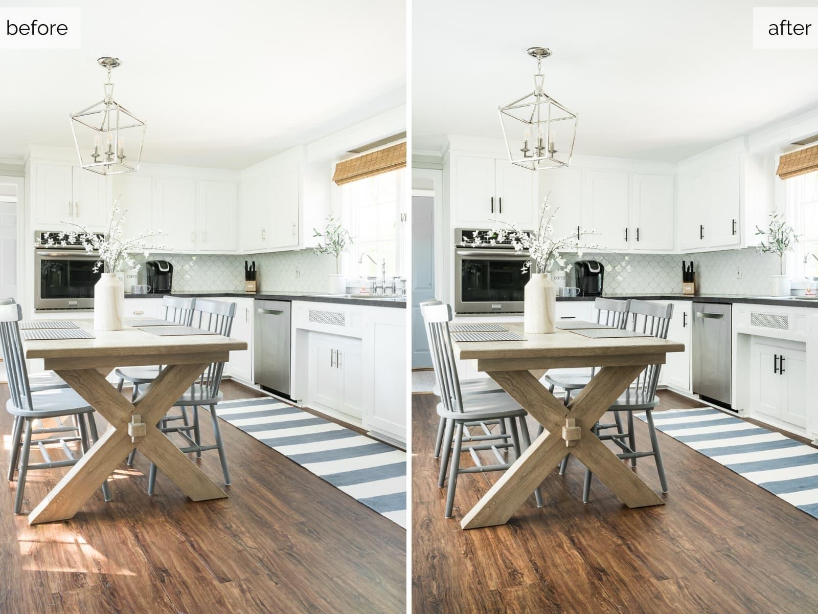 New hardware on cabinets  is an easy and quick way to update the look of your kitchen