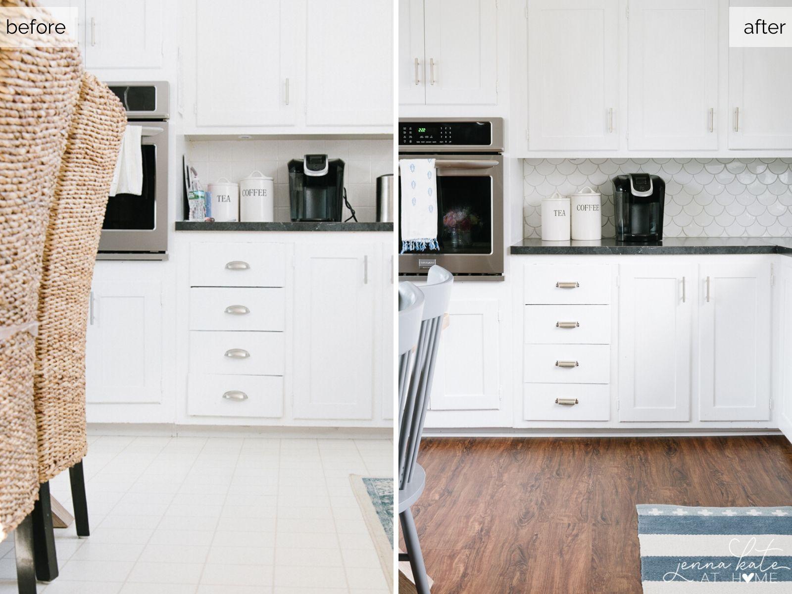 Installing luxury vinyl flooring over old linoleum improves the look of an old kitchen