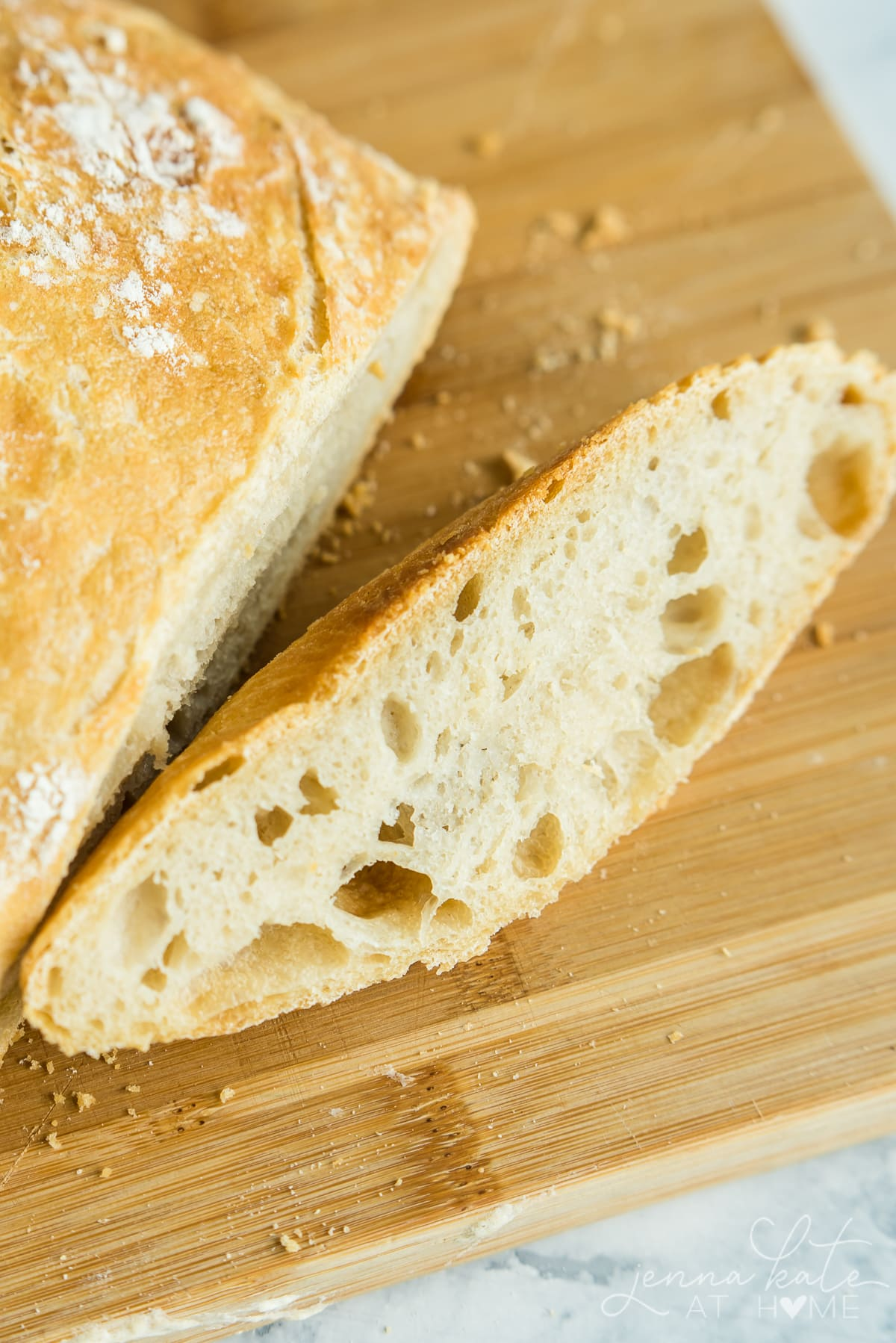Texture of the simple no knead bread loaf