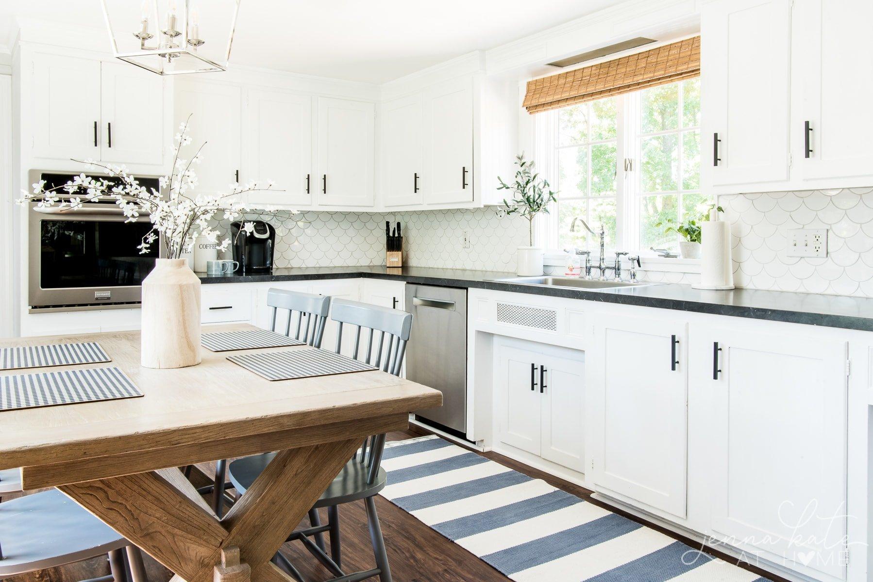 Kitchen with flat black kitchen hardware