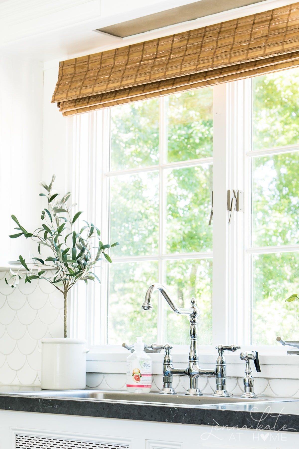 Chrome farmhouse style kitchen faucet