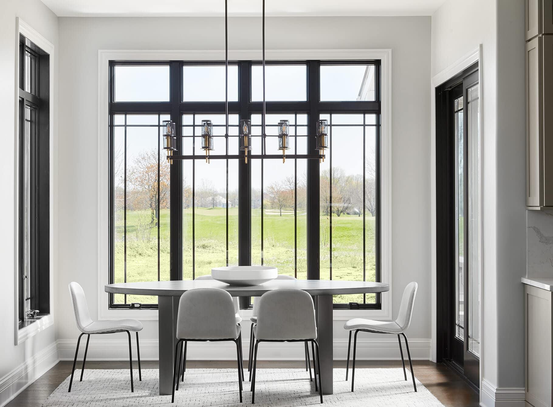 black windows with gray owl walls