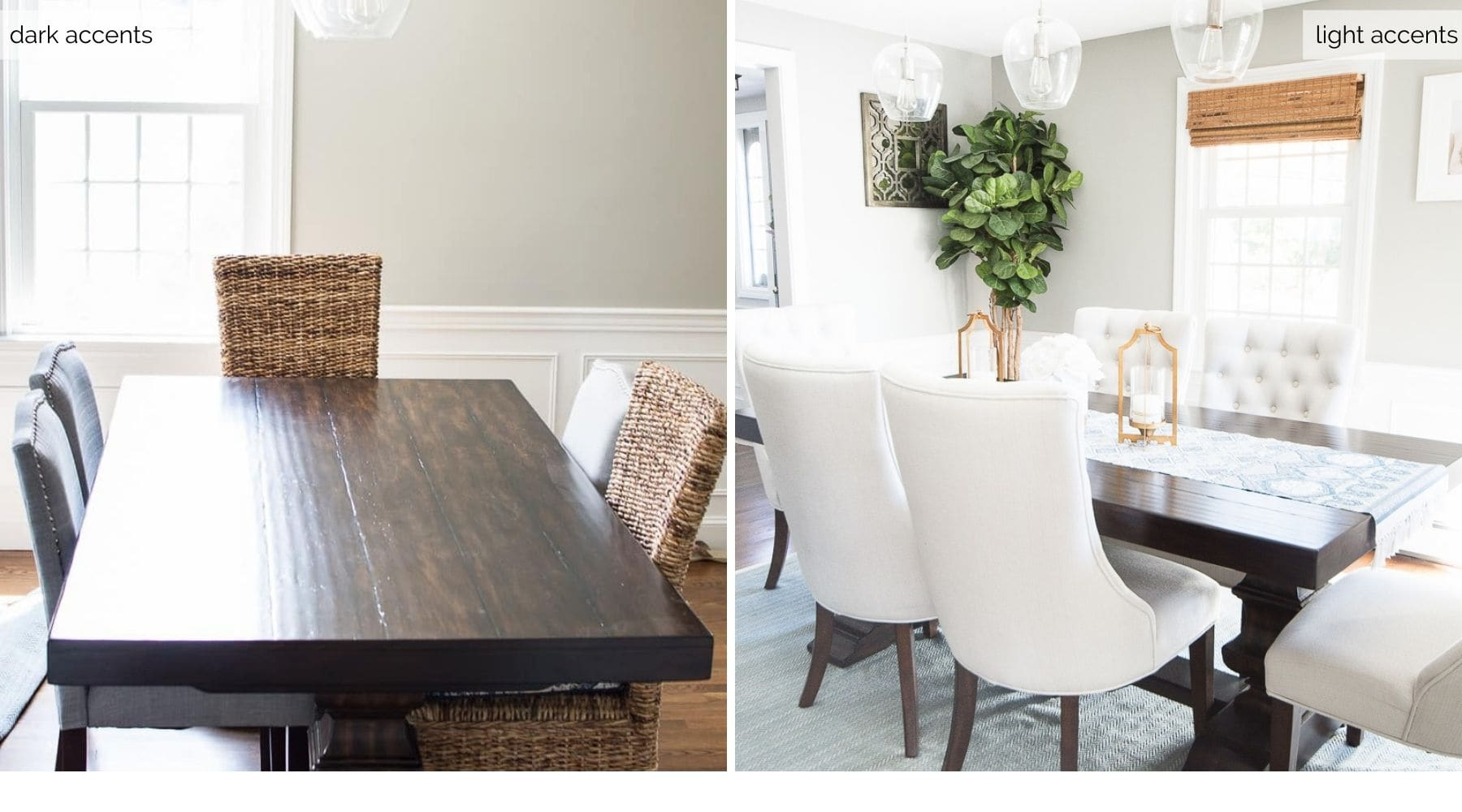 Two comparisons: dark wooden table and tall wicker chairs on the left; same wooden table but with white upholstered chairs and a large, light blue rug