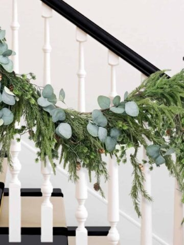 faux garland on stairs