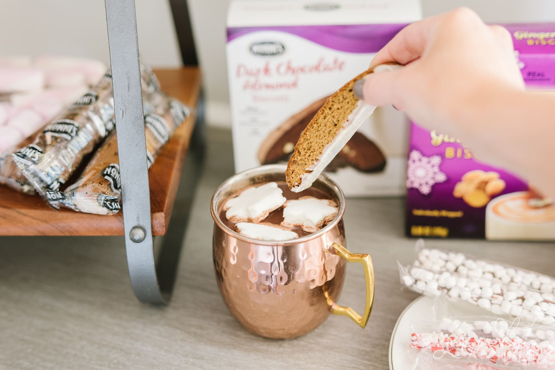 Dipping a gingerbread biscotti into a mug of hot cocoa