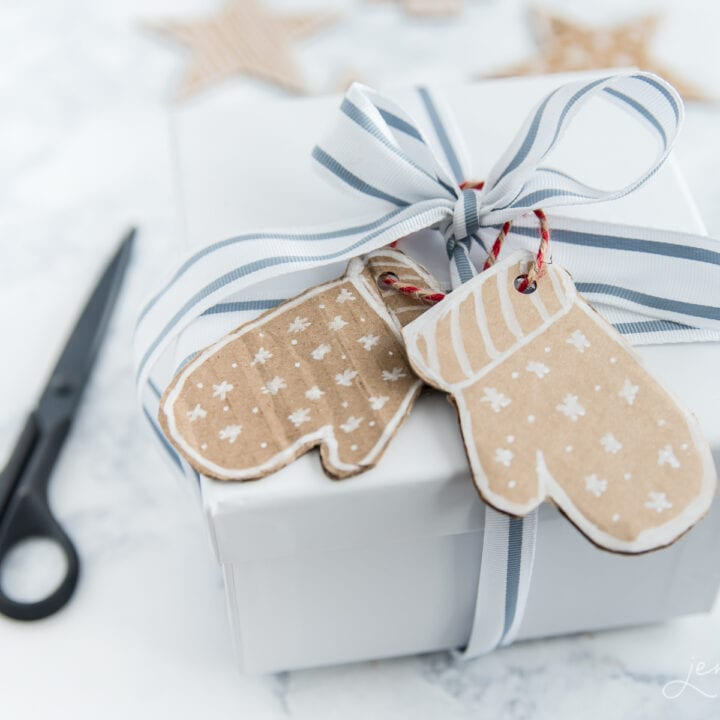 natural gift tags on white gift box for Christmas