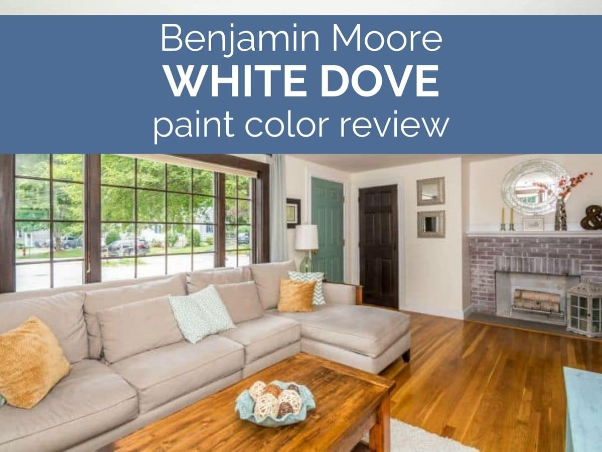 living room with text that reads benjamin moore white dove paint color review