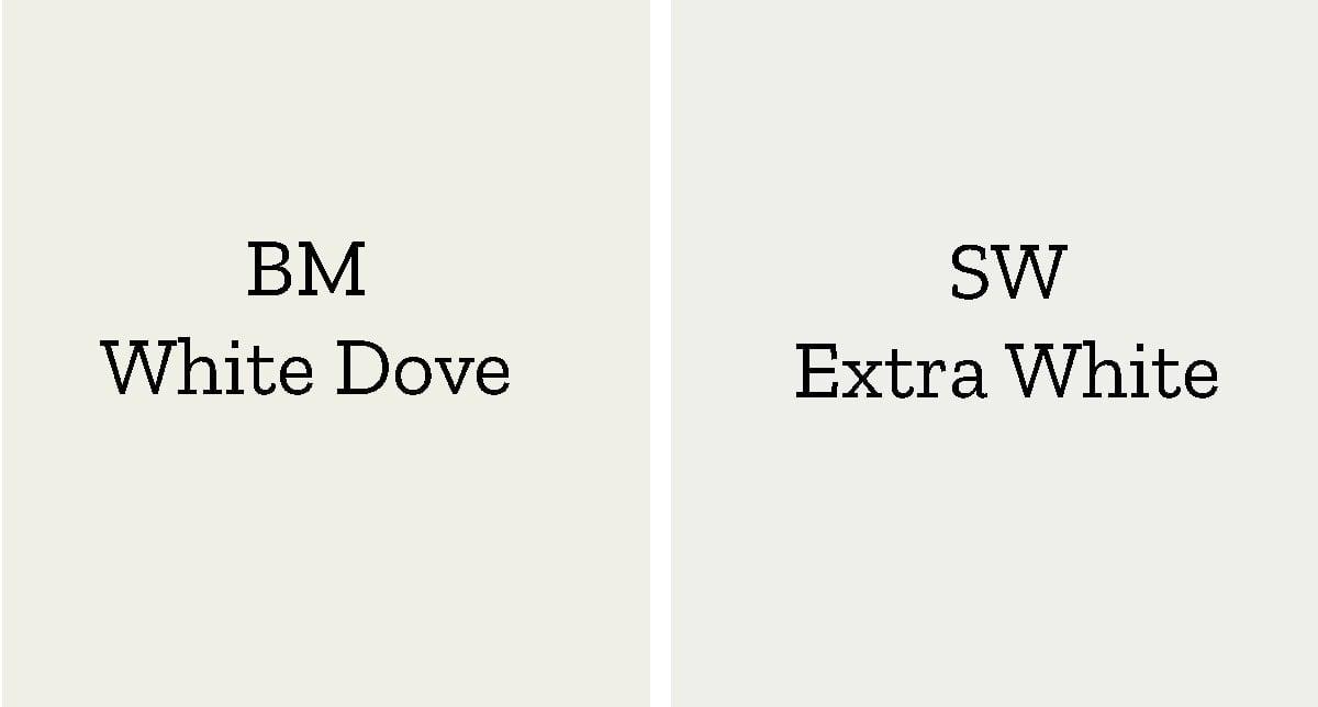 color comparison of white dove to sherwin williams Extra White