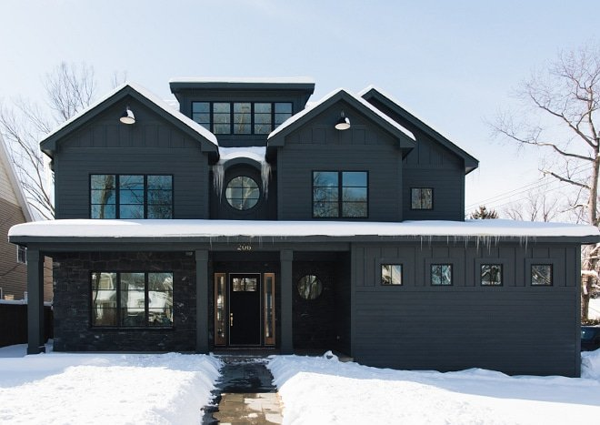 Modern farmhouse style home painted completely with Sherwin Williams Tricorn Black