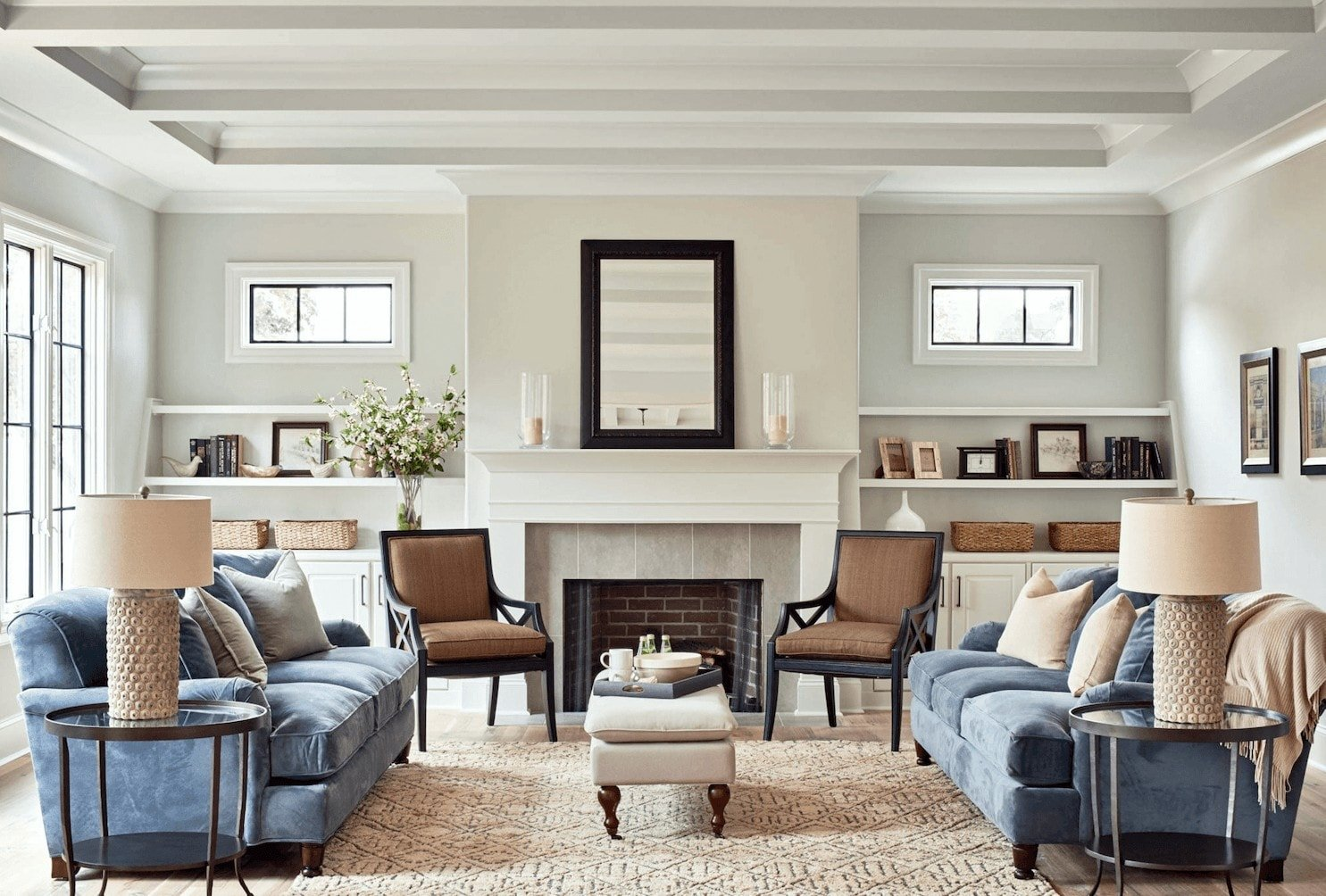 contemporary living room with walls painted benjamin moore moonshine