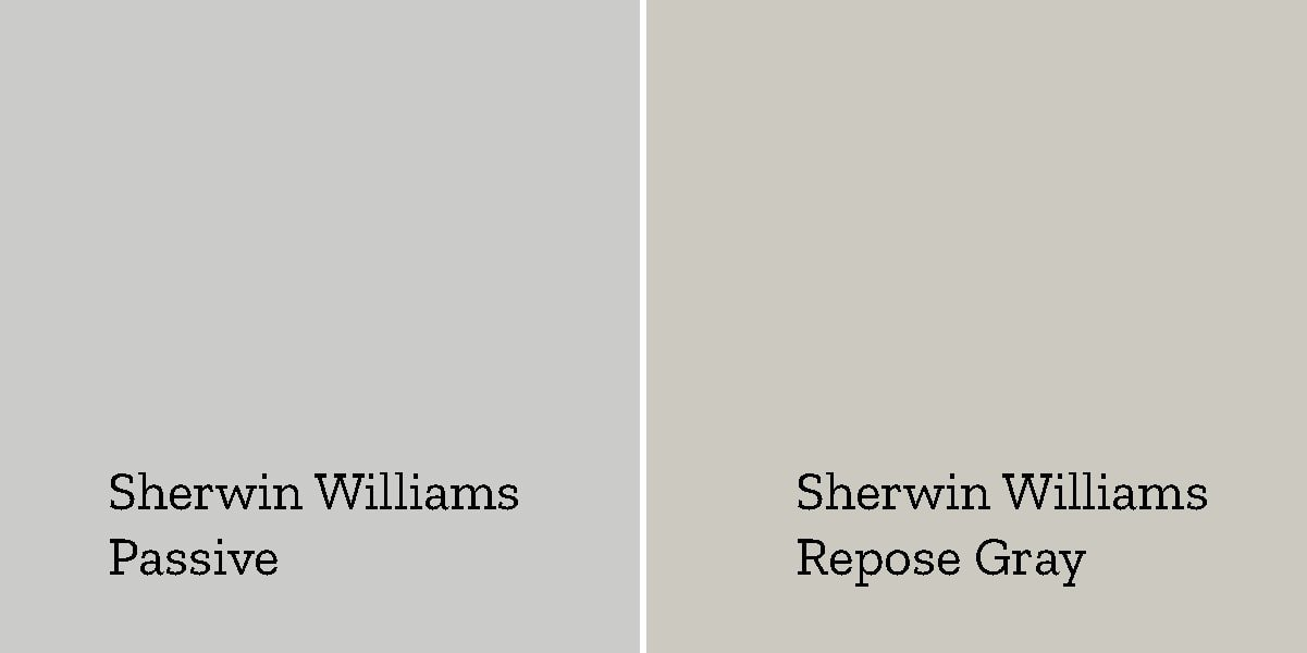 sherwin williams passive versus sherwin williams repose gray side by side swatches