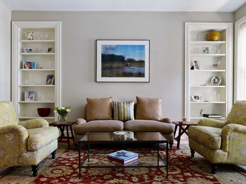 living room walls painted revere pewter with brown couch and red printed rug