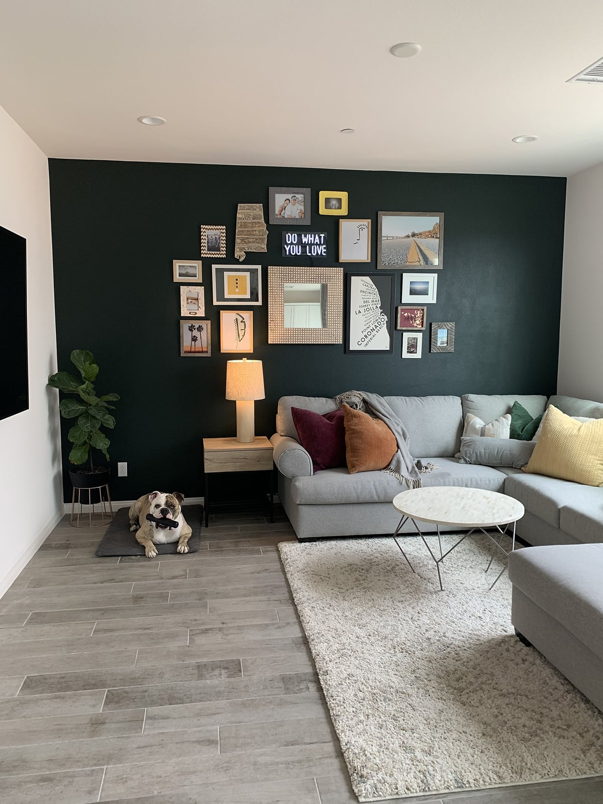 Dark green accent wall with photo gallery