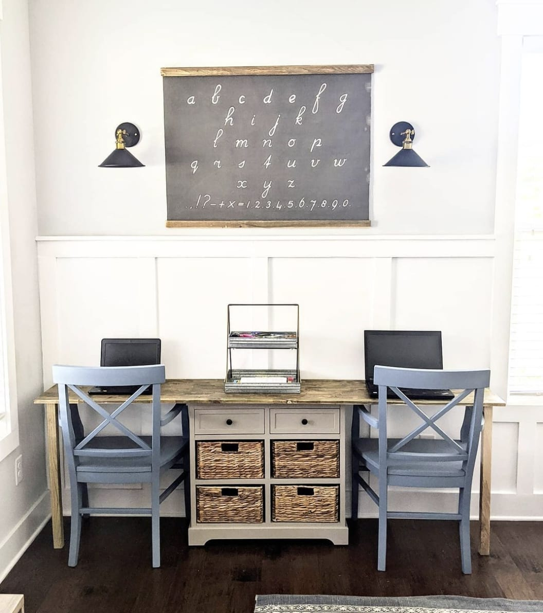 kid's homework area with white wainscoting and wall above painted sw passive