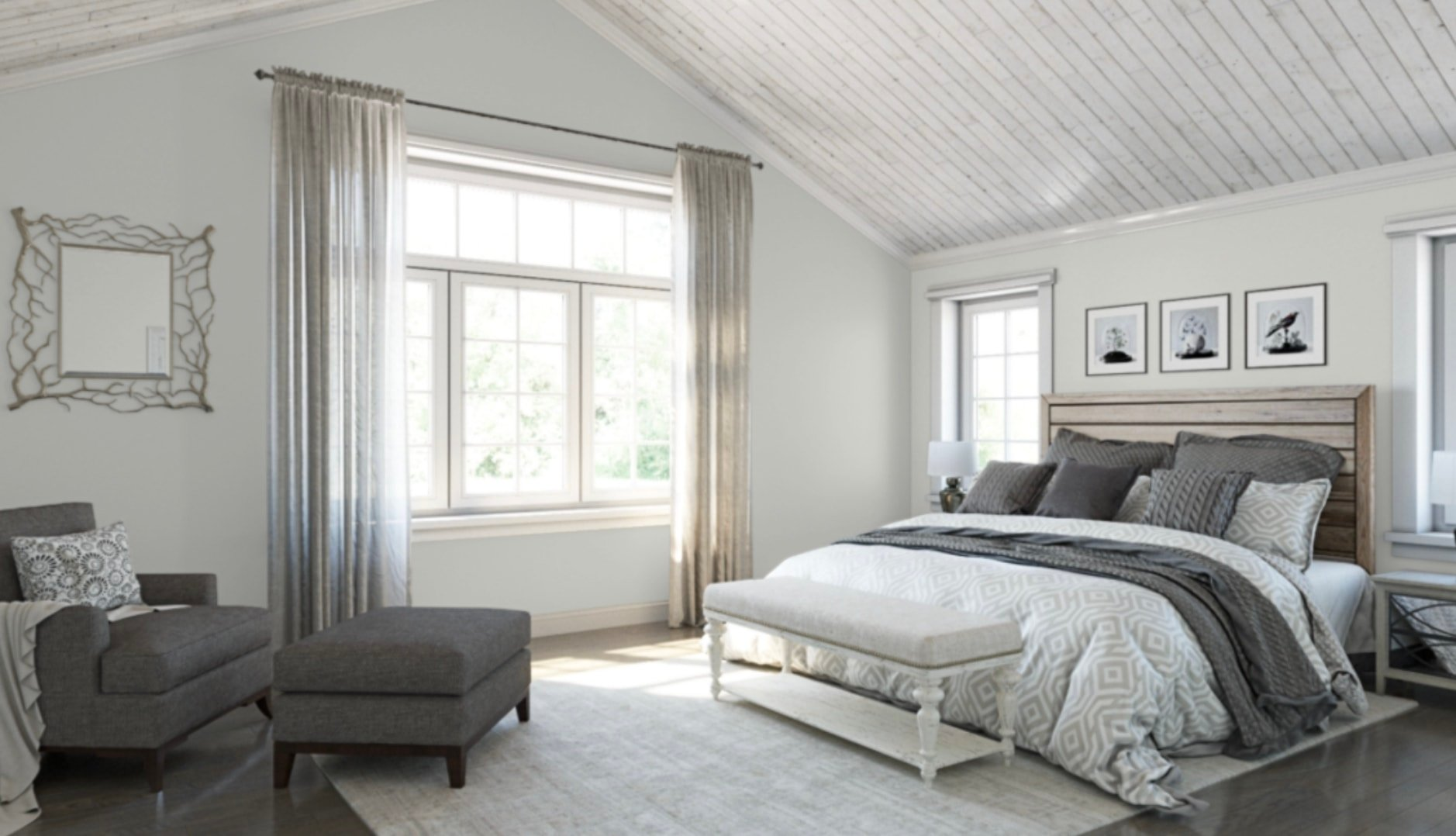 light colored bedroom with walls painted sherwin williams silverpointe