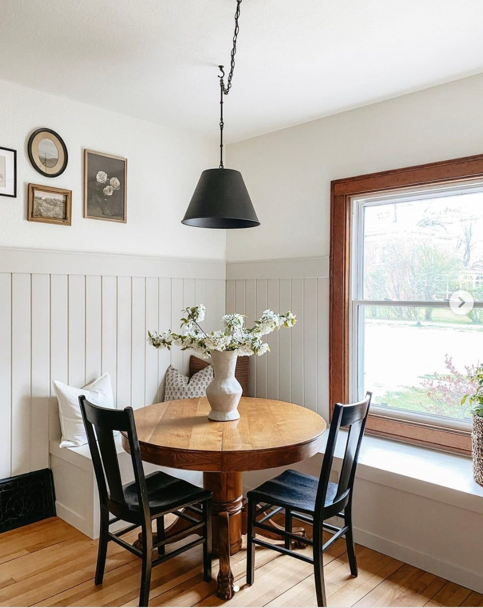 wainscoting in kitchen nook painted sherwin williams accessible beige