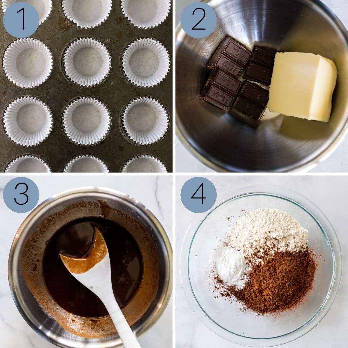 first step in making the chocolate cupcakes