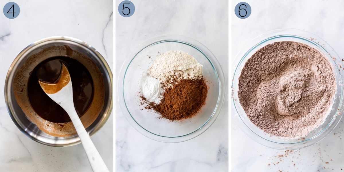collage of steps 4 to 6 of making the chocolate cupcake batter