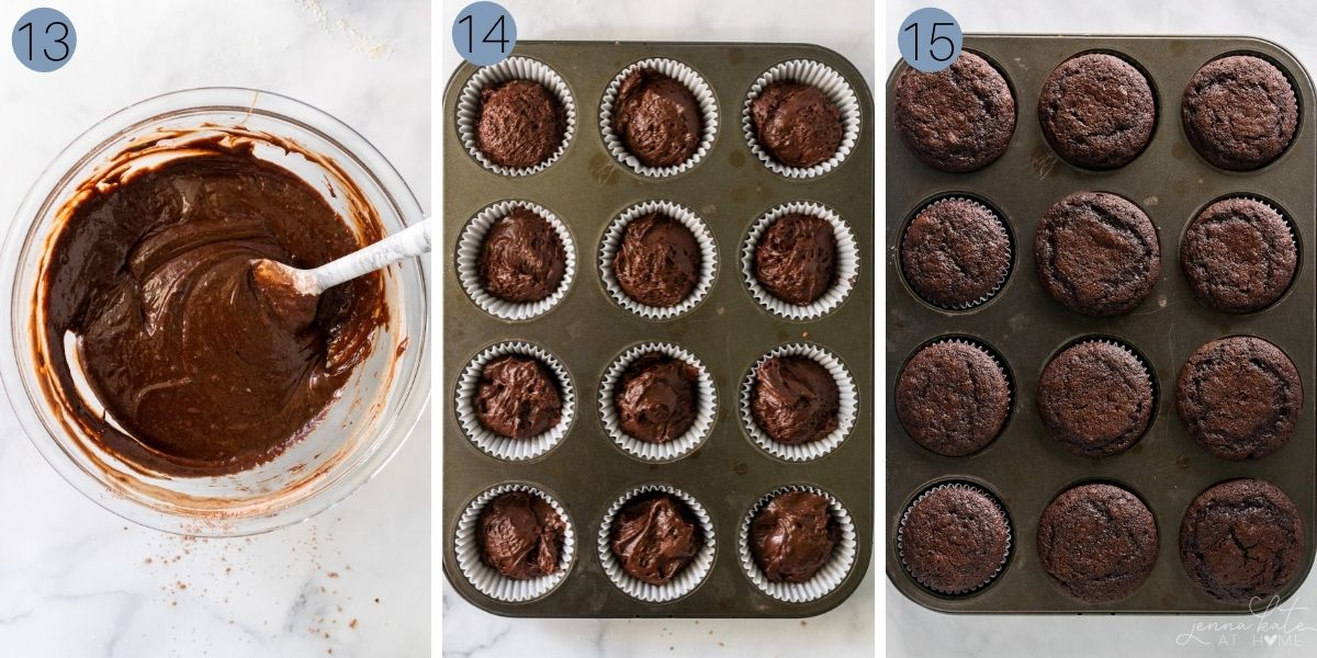 collage of steps 13 to 15 of baking the cupcakes