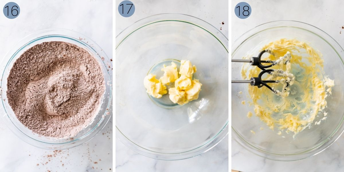 beating the butter for the chocolate buttercream