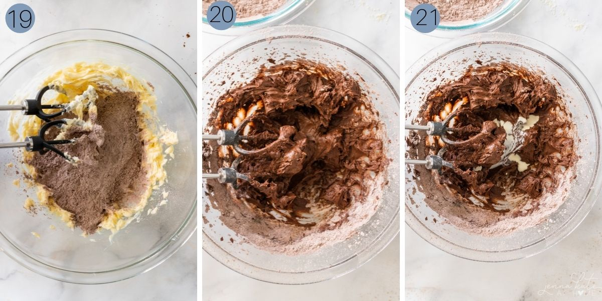 adding the sugar and cocoa mixture for the chocolate buttercream