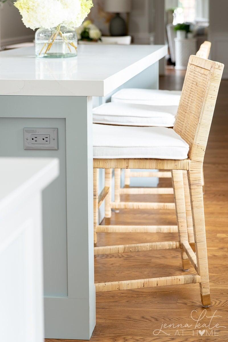 serena and lily Balboa counter stools at kitchen island