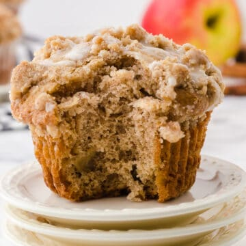 cinnamon apple muffin with bite taken out