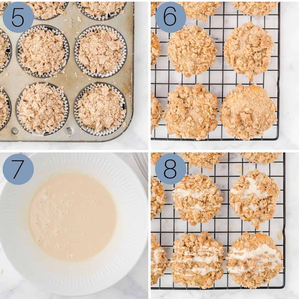 crumb topping on muffins with vanilla glaze drizzled on top