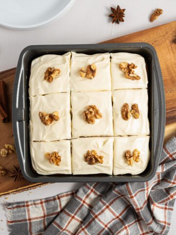 old fashioned spice cake in square pan