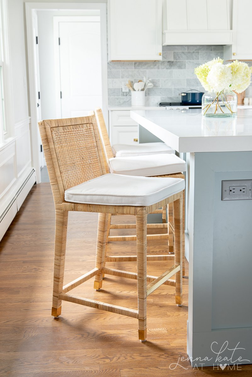 balboa counter stool pulled out from island to see the brass accents