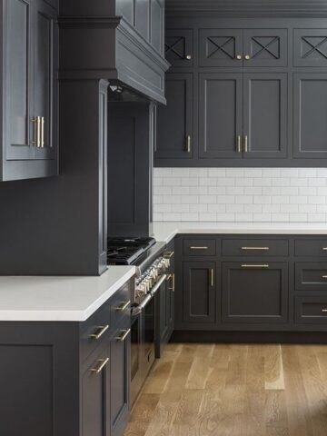 Kitchen Cabinets painted with BM Wrought Iron